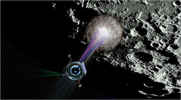 מחפשים מים. החללית LCROSS צוללת מעל המכתש שיצר הקליע שלה, ומנתחת את הרכב האבק | הדמיה: NASA