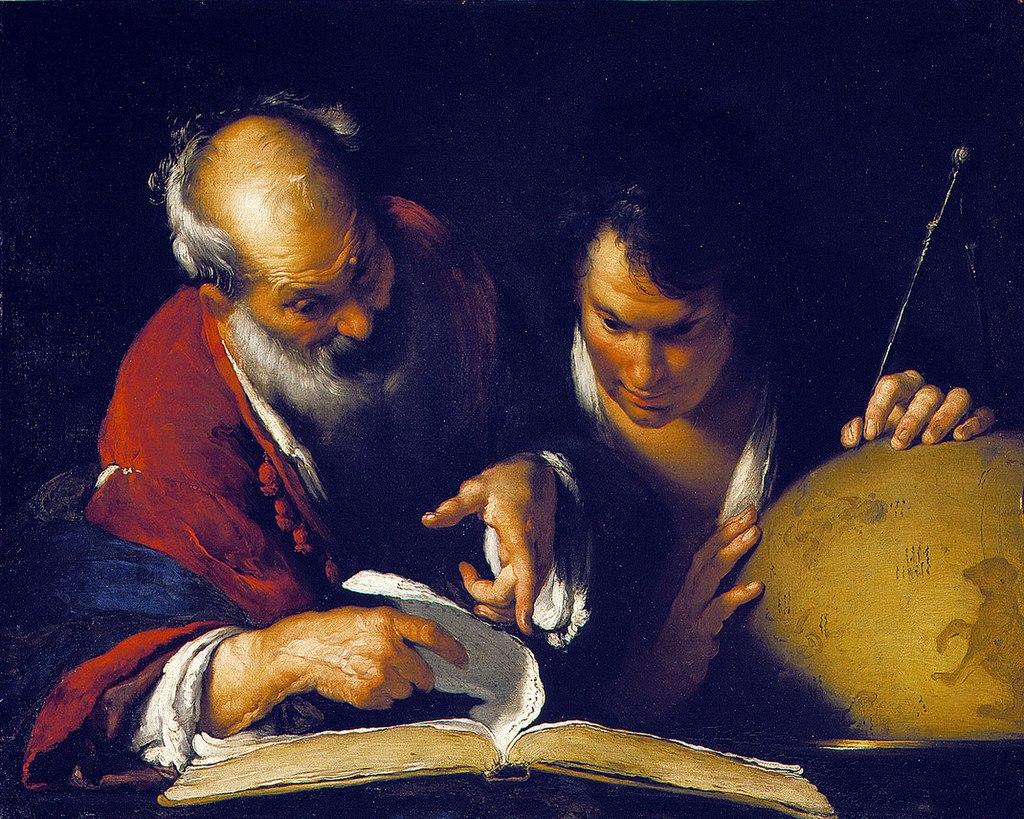 ארטוסתנס מלמד באלכסנדריה. ציור של ברנרדו סטרוצי מ-1635   מקור: ויקיפדיה, נחלת הכלל