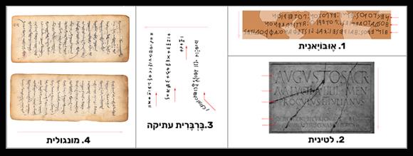 1. יוונית אובויאנית (מימין לשמאל); 2. לטינית (משמאל לימין); 3. טיפינאך – ברברית עתיקה (מלמטה למעלה); 4. מונגולית (מלמעלה למטה) | מקורות: Oleg, Future Perfect at Sunrise, Shutterstock, Leah-Anne Thompson, ויקיפדיה, סיימון אגר/Omniglot.com