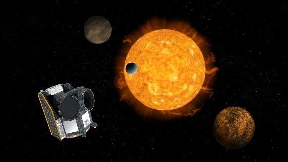 במציאות הוא יהיה כמובן הרבה יותר רחוק. הדמיה של CHEOPS צופה בשמש עם כוכבי לכת | מקור: ESA