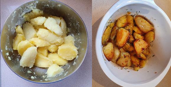 """תפוחי האדמה לפני ואחרי הצלייה בתנור   ד""""ר דפנה מנדלר"""