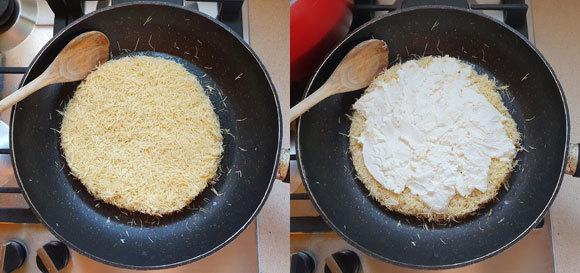 מזהיבים את האטריות בחמאה על אש קטנה, ומוסיפים את הגבינה | צילום: דפנה מנדלר