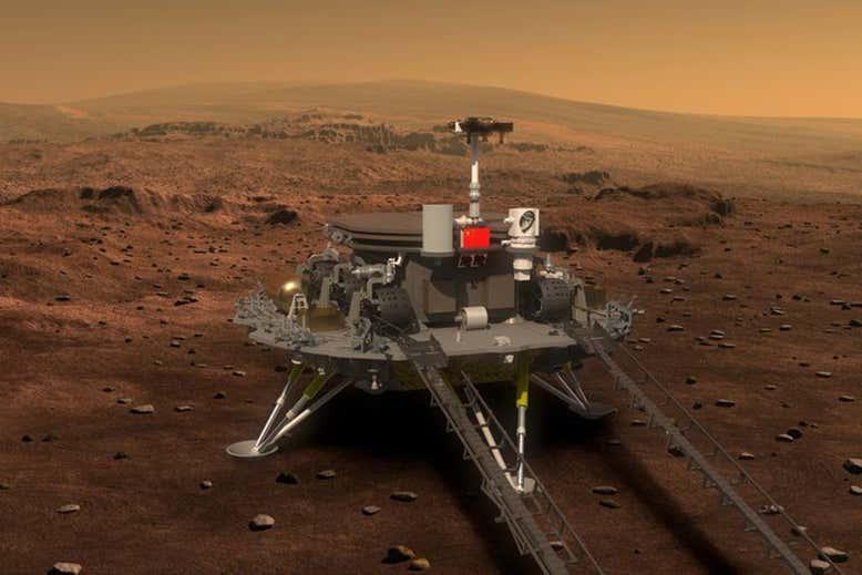 צפוי להיות רכב השטח הראשון על מאדים שאינו אמריקאי. הדמיה של הרכב Tianwen-1 על גבי הנחתת | מקור: CNSA