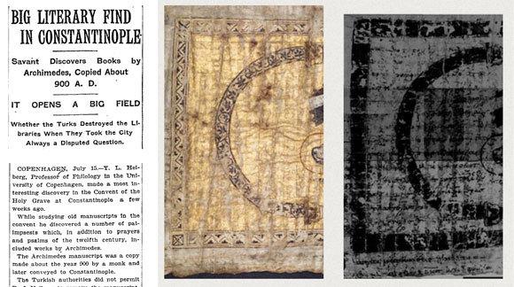 משמאל: הידיעה על גילוי הפלימפססט בניו יורק טיימס, 16.7.1907; במרכז: דף מתוך הפלימפססט; מימין: המקור, במרכז: הדף לאחר סריקה שחשפה את הכתב הסמוי מתחת לספר התפילה מהמאה ה-13 I מקור: מוזיאון וולטרז