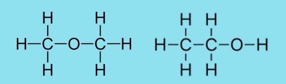 מיקום שונה של אטום החמצן. מימין: אתנול; משמאל: די-מתיל אתר | תרשימים: מריה גורוחובסקי