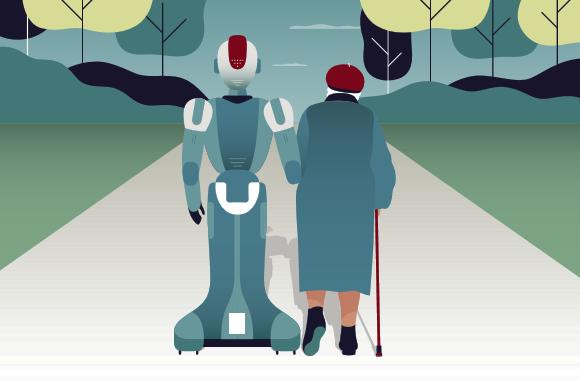 רובוט מלווה קשישה