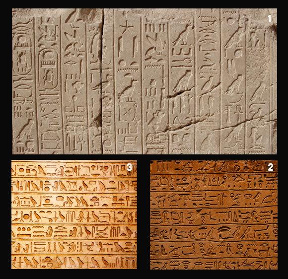 1. הירוגליפים כתובים בטורים אנכיים, בעמק המלכים במצריים; 2. הסמלים פונים ימינה, הקריאה משמאל לימין; 3. סמלים פונים שמאלה, הקריאה משמאל לימין | Shutterstock, Luke Klingensmith, Fedor Selivanov, Dudareva1386
