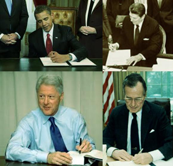 שיעור מפתיע של נשיאים שמאליים משתי המפלגות: מלמעלה מימין עם כיוון השעון: רייגן, בוש האב, קלינטון ואובמה | צילומים: ויקיפדיה