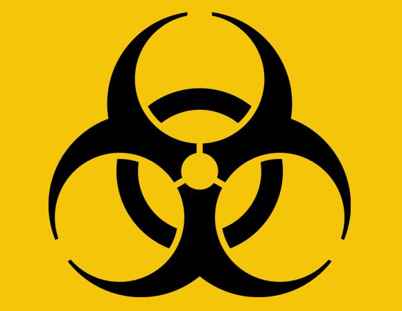 הסמל הבינלאומי לחומרים שנשקפת מהם סכנה ביולוגית | מקור: ויקיפדיה, נחלת הכלל