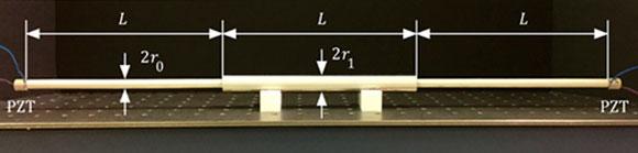 צינור פלדה וגבישים פיאזואלקטריים המייצרים גלים. המערכת ששימשה בניסוי | צילום מתוך מאמר המחקר