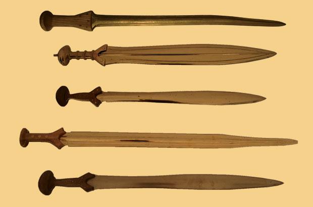 כמה מהחרבות ששימשו במחקר | מקור: מאמר המחקר