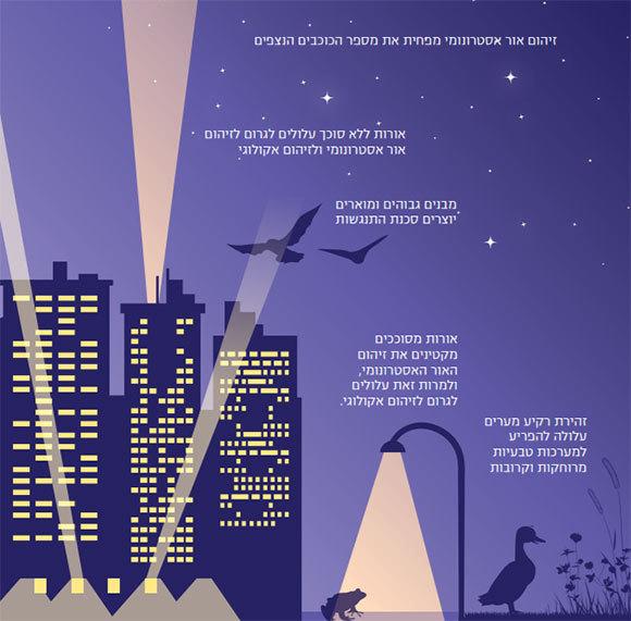 """זיהום אור אקולוגי ואסטרונומי, מתוך דו""""ח של האגודה הישראלית לאקולוגיה ומדעי הסביבה"""