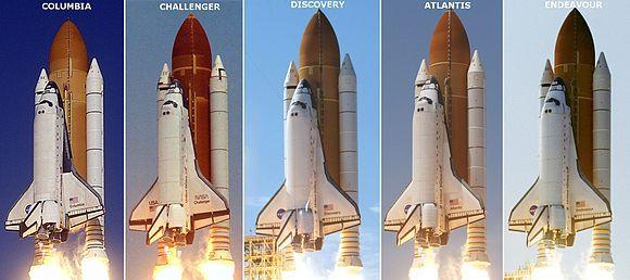 סוסי העבודה שפרצו את הדרך לחלל. משמאל: קולוביה, צ'לנג'ר, דיסקברי, אטלנטיס ואנדבר | צילומים: NASA