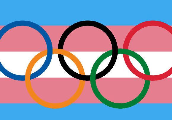 דגל האולימפיאדה בשילוב עם דגל הגאווה הטרנסג'נדרית