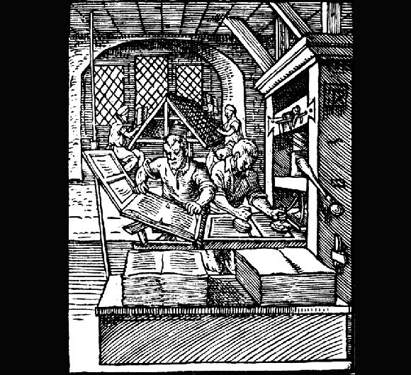 ציור משנת 1568 של מכבש דפוס מעץ, בעל הספק של עד 240 דפים בשעה | ויקיפדיה, אמן: יוסט אמאן (Amman)