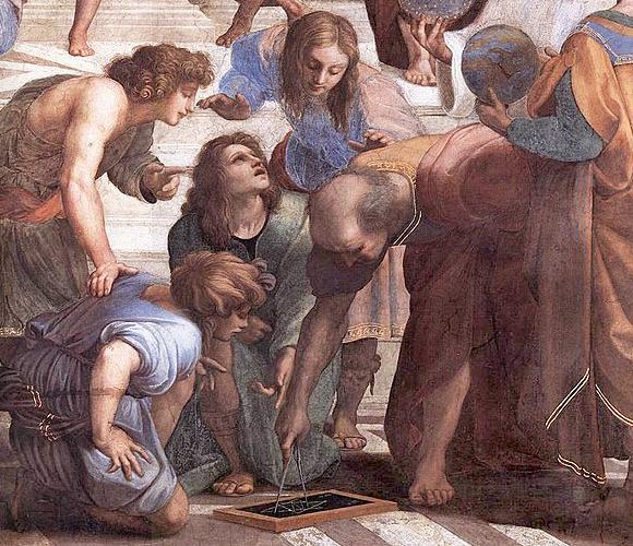 אוקלידס ותלמידיו בציור המפורסם של רפאל | מקור: ויקיפדיה, נחלת הכלל