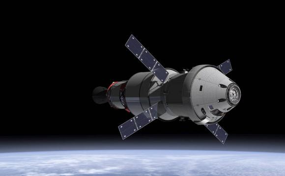 הדמיה של חללית אוריון במסלול סביב כדור הארץ | איור: NASA
