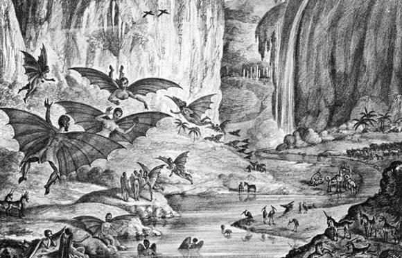 התמונה שפורסמה בניו-יורק סאן ב-1835, מראה כביכול את האנשים שראה הרשל על הירח | ויקיפדיה, Liftarn
