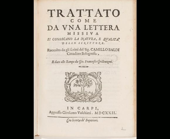 הטקסט המוכר הקדום ביותר בנושא ״מדע הגרפולוגיה״, שחיבר קאמילו באלדי בשנת 1622 | דרך Europeana