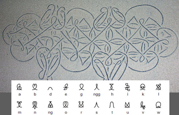 למעלה: ציור חול מסורתי; למטה: האלפבית האוויולי | ויקיפדיה, PhillipC, סיימון אגר/Omniglot.com