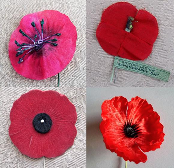 פרגי זיכרון, משמאל למעלה בכיוון השעון: אוסטרליה, בריטניה (מ-1921, יוצר בצרפת), ניו-זילנד וקנדה | Wikipedia, Heatherannej