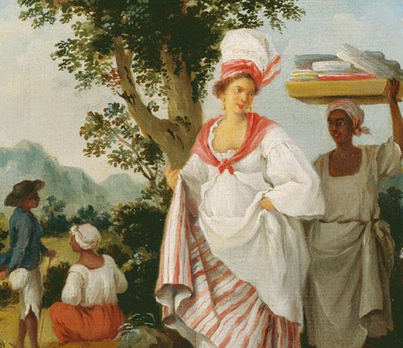 בעלת עבדים באיים הקריביים, עם העבדים שלה | ציור: Agostino Brunias