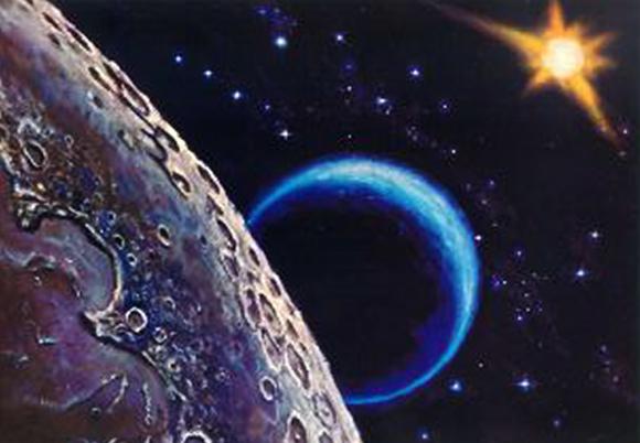 לא הצליח להגיע לירח, ונאלץ להסתפק בציור. פני הירח כפי שצייר ליאונוב עם כדור הארץ ברקע | מקור: ויקיפדיה, שימוש הוגן