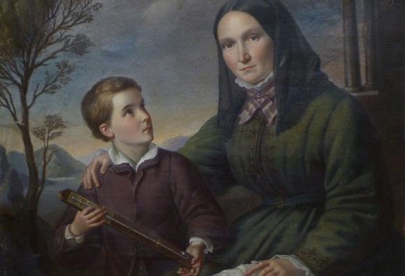 אהבה מנוכרת וקרה. ציור של הומבולדט בן עשר בערך, עם אמו האלמנה | מקור: ויקיפדיה, נחלת הכלל