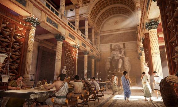 """Die Bibliothek von Alexandria, wie sie sich die Entwerfer des Spiels """"Assassin's Creed"""" vorgestellt haben. Quelle: egypttoursportal.com"""