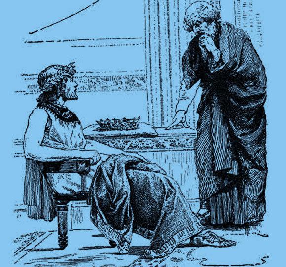 המלך מוסר את הכתר לידי החכם הקשיש. בפועל ארכימדס היה צעיר מהמלך ב-20 שנה | ציור: אמן לא ידוע