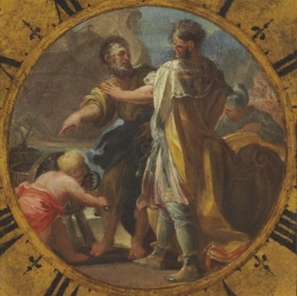 ארכימדס מציג את אחת מהמצאותיו למלך היירון השני, ציור של דומניקו וַקַארוֹ, כנראה מתחילת המאה ה-18 | מקור: ויקיפדיה, נחלת הכלל