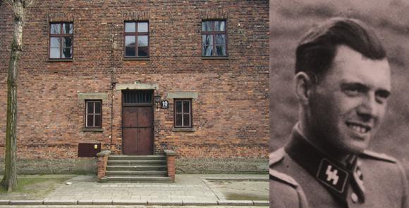 ביתן 10 באושוויץ, שבו נעשו ניסויים מחרידים בבני אדם. מימין: הרופא הנאצי יוזף מנגלה שניהל את הניסויים | צילומים: VbCrLf, ויקיפדיה; נחלת הכלל