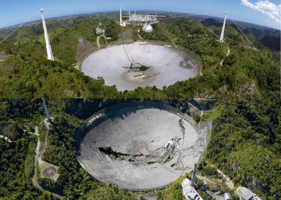 טלסקופ ארסיבו כשהיה פעיל (למעלה) ולאחר הקריסה | צילומים: DAVID PARKER / SCIENCE PHOTO LIBRARY, estadespr, Shutterstock