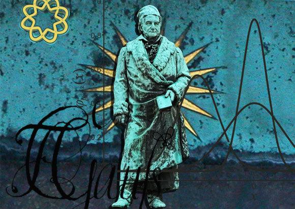 פסל של גאוס בעיר הולדתו, בראונשווייג, גרמניה, על רקע חתימת ידו ואלמנטים מעבודתו | צילום: Mikhail Markovskiy, Shutterstock