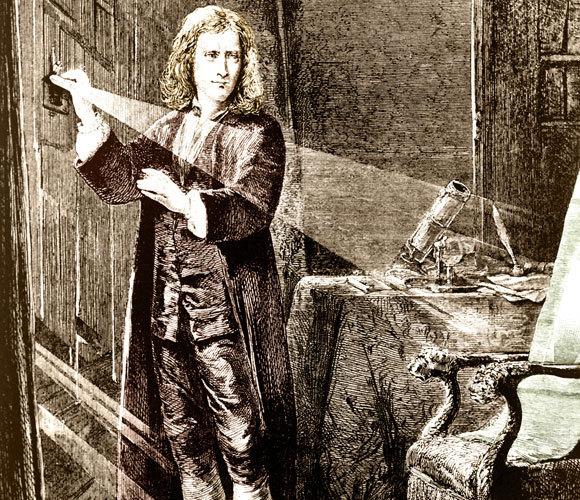 ניוטון חוקר את טבעה של קרן אור | מקור: SCIENCE SOURCE / SCIENCE PHOTO LIBRARY