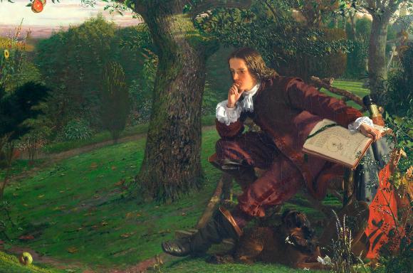 ניוטון הצעיר תחת עץ התפוח המפורסם   מקור: ROYAL INSTITUTION OF GREAT BRITAIN / SCIENCE PHOTO LIBRARY