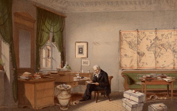 הספרים הפופולריים שכתב היו לרבי-מכר בעלי השפעה עצומה. הומבולדט בחדר עבודתו | מקור: Science Photo Library