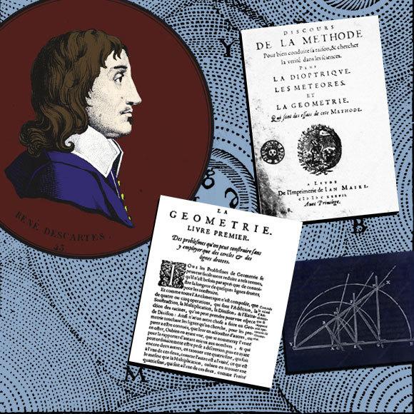 דיוקן של דקארט ועבודות שלו על רקע מודל היקום שלו | מקורות: OXFORD SCIENCE ARCHIVE / HERITAGE IMAGES / SCIENCE SOURCE / SCIENCE PHOTO LIBRARY