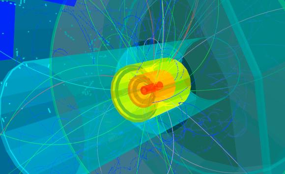 רק באחת מכל מיליארד-מיליארדי התנגשויות יווצר אטום חדש. תרשים של התנגשות גרעינים | מקור: Science Photo Library