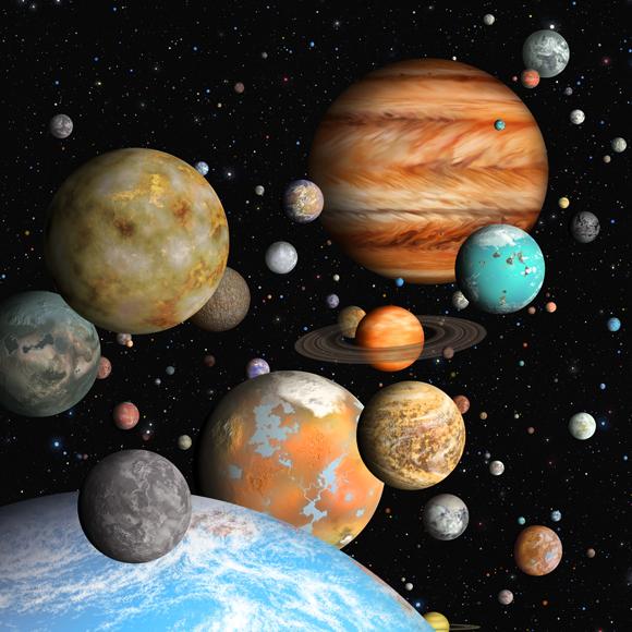 Simulationen von Planeten, die Betrachtungen durch das Kepler-Teleskop entdeckt haben. Quelle: Lynette Cook, Science Photo Library