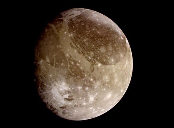 אילוסטרציה של הירח של צדק גנימד (Ganymede)