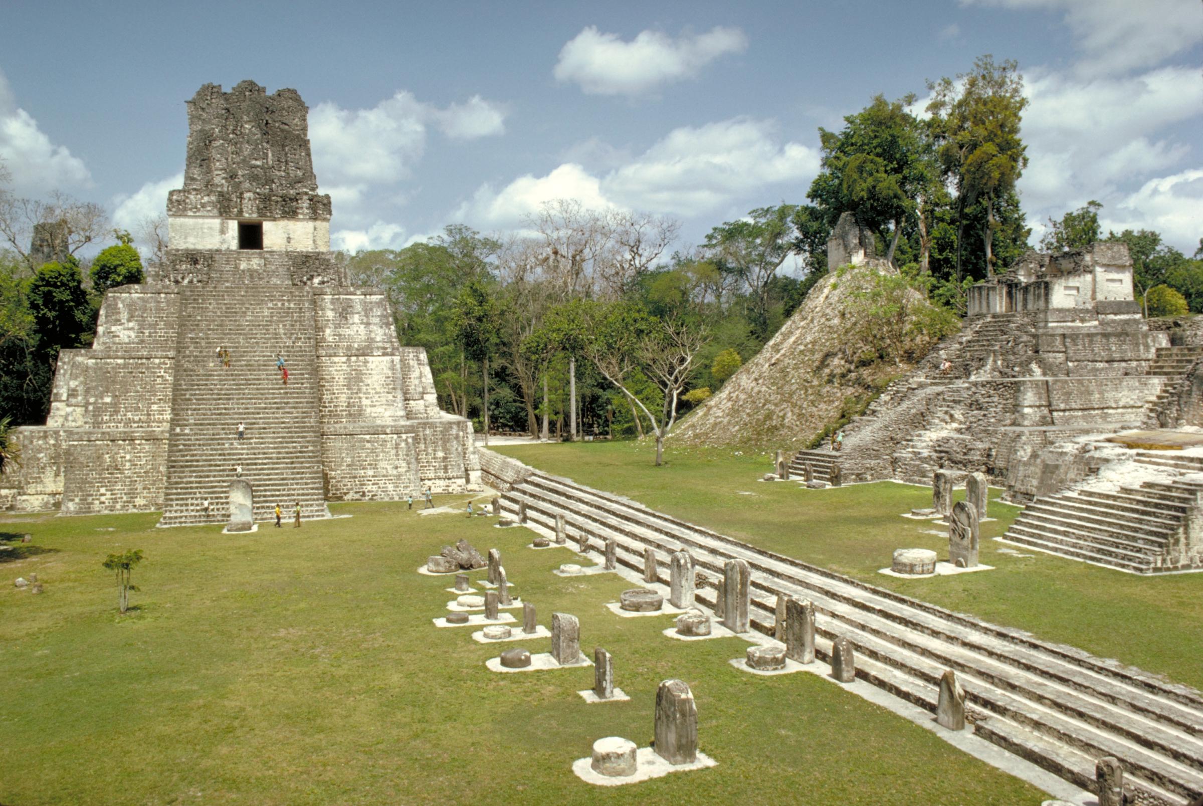 העיר העתיקה טיקאל, משמאל בקטן: צילום באמצעות מיקרוסקופ אלקטרונים של זאוליט, spl