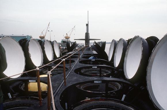 צינורות השיגור של טילים על הצוללת האמריקאית אוהיו | צילום: US AIR FORCE / SCIENCE PHOTO LIBRARY