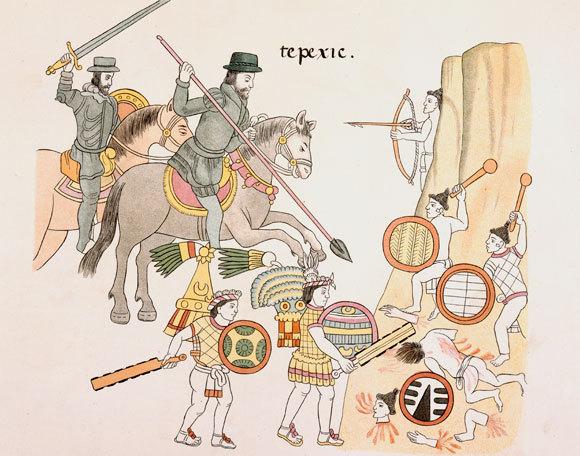 ציור המתאר את הספרדים ובעלי בריתם נלחמים באצטקים | מתוך Lienzo de Tlaxcala, קרדיט: British Library, SPL