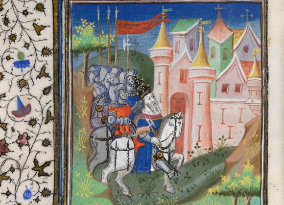 Julius Cäsar erobert mit seinen Soldaten Alexandria. Zeichnung in einem französischen Buch aus dem 15. Jh. Quelle: BRITISH LIBRARY / SCIENCE PHOTO LIBRARY