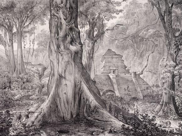 חקר את הטבע, וגם את תרבויות האדם. מקדש עתיק במקסיקו בציור של הומבולדט | מקור: Science photo Library