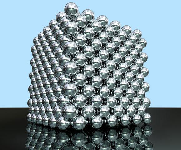יסוד רדיואקטיבי עם קצב התפרקות איטי. מבנה של גביש תוריום | איור: Russell Kightley / Science Photo Library