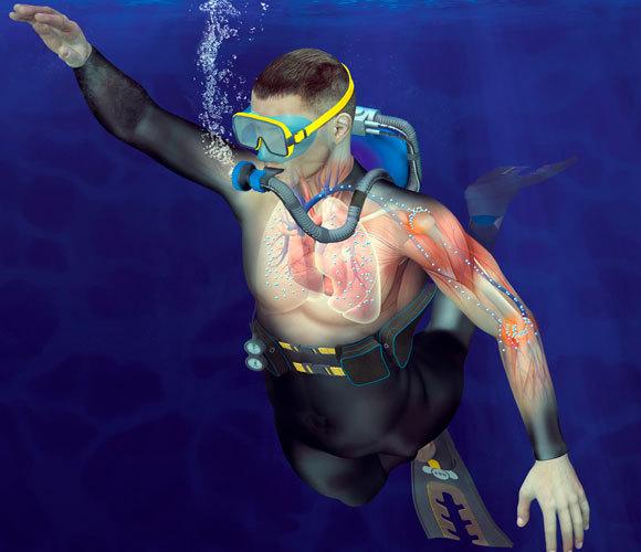 אילוסטרציה של הבועיות הנוצרות בעת צלילה | Claus Lunau, Science Photo Library