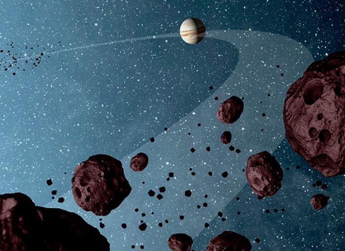 פיזור לא אחיד בין ההנקודות. איור של האסטרואידים הטרויאניים עם צדק במסלולו | Science Photo Library