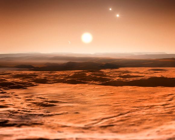 איור של כוכב לכת במערכת התלת-כוכבית Gliese 667 | מקור: Science Photo Library
